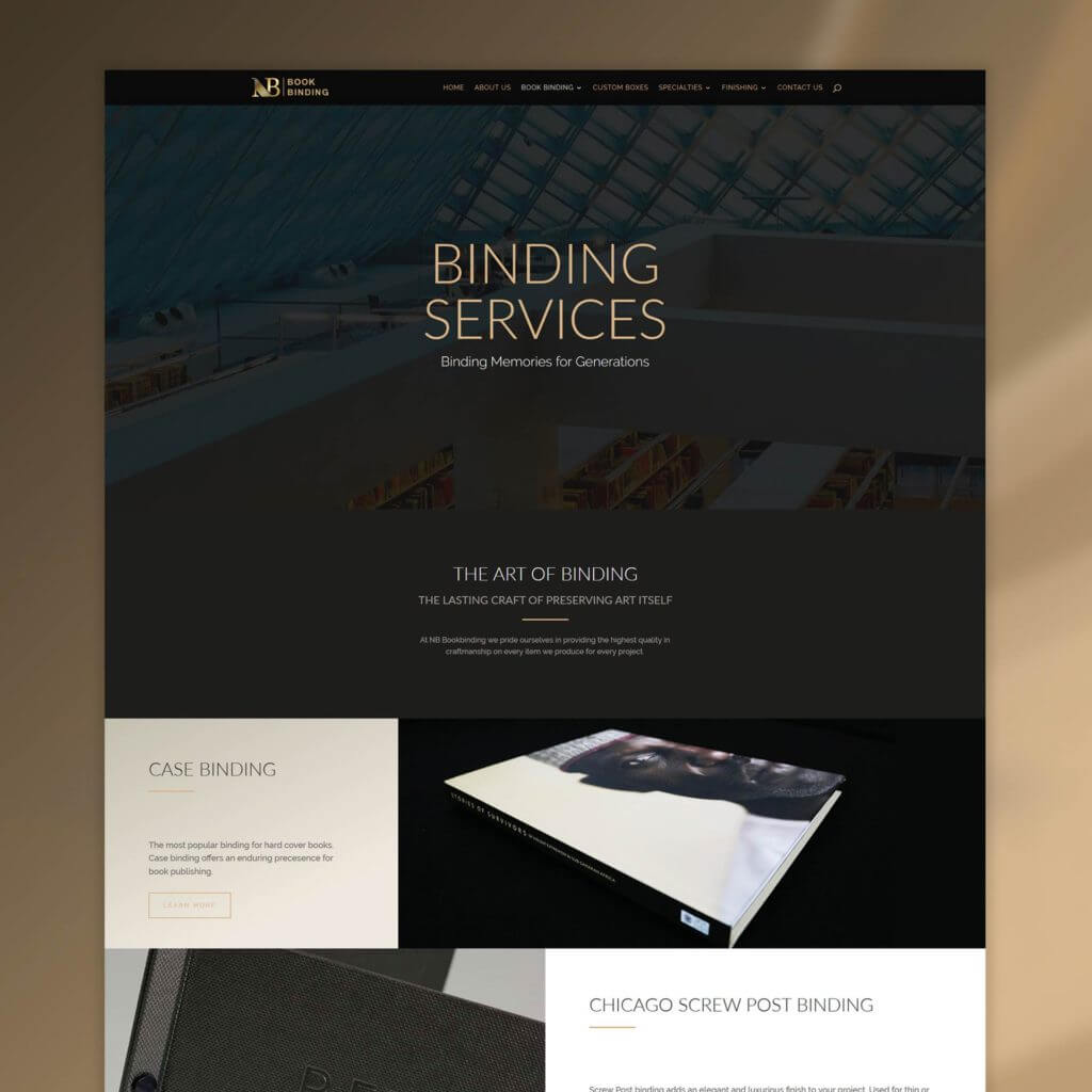 nb bookbinding web design